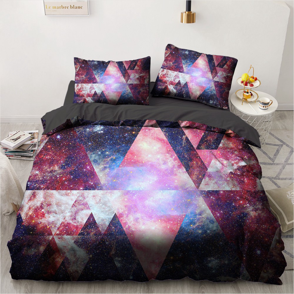Bedding Sets 3D Geometric Nebula Duvet Quilt Cover Set Comforter Bed Linen Pillowcase King Queen Double