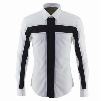 Unique Design Men's Fashion Cross Patchwork Dress Shirt Long Sleeve Breathable Shirt Male Top Cotton Slim Shirts