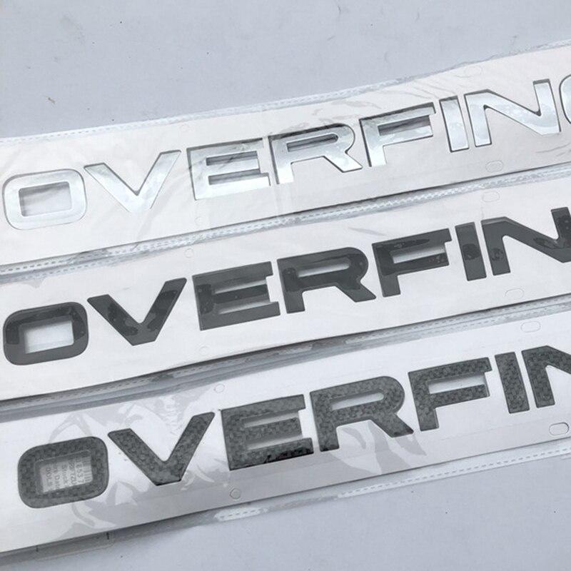 تصفيف السيارة تجديد هود الخلفي الجذع السفلي ملصقات للسيارة متعددة الأشكال كروم أسود الكربون رسائل شعار شارة ل رينج روفر OVERFINCH