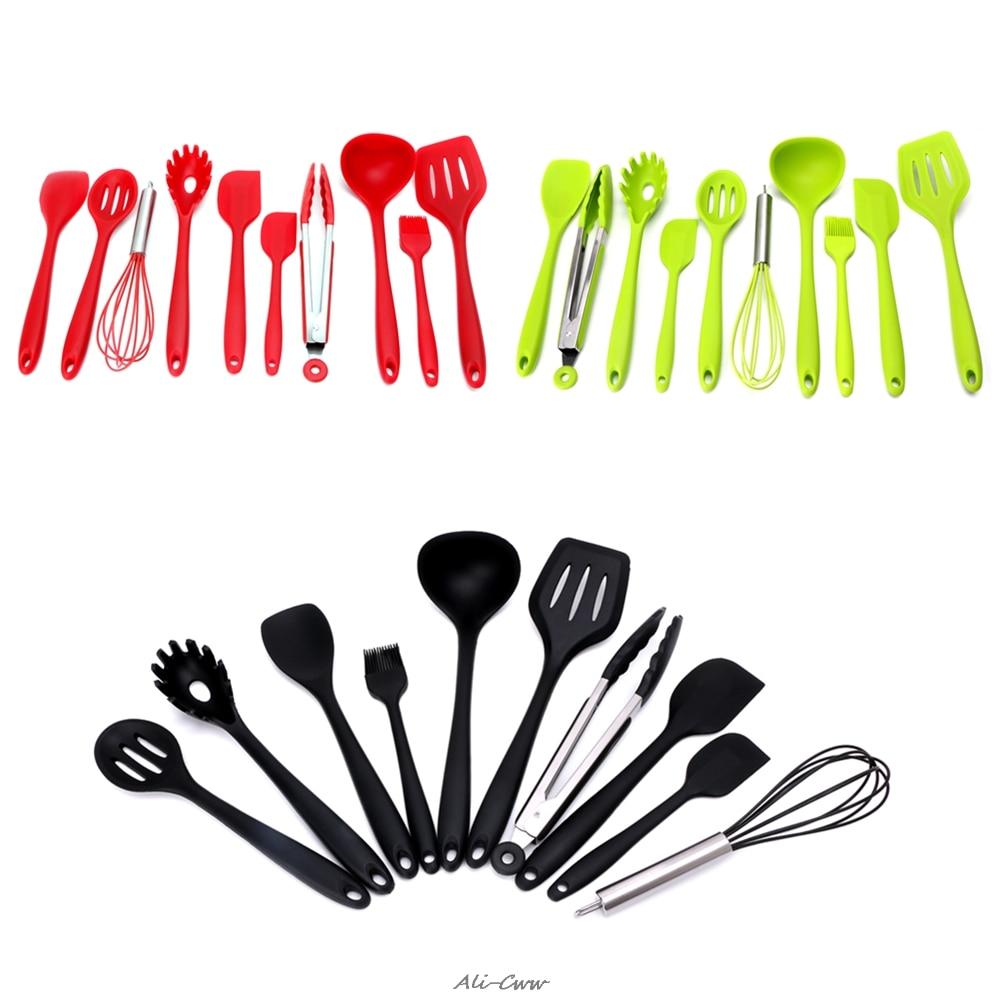10Pcs Red/Green/Black Heat Resitant Non-stick Silicone Kitchen Utensils Set Cooking Bake Tool Spatula Spoon Brush Wisk Tong