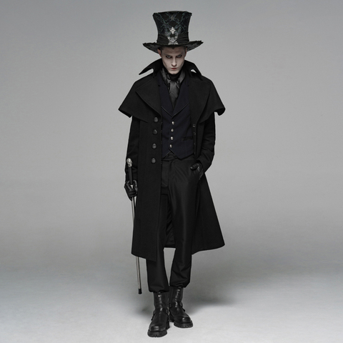 PUNK RAVE Mens Gothic Dark Cloth Shoulder Cloak Detective Mystery Simple Coat Club Stage Performance Fall Winter Mens Jackets Islamabad