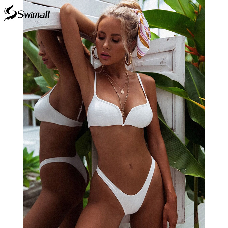 Bikini 2020 Solid V-neck Swimsuit Women Push Up Bikini Set Triangle Swimwear Summer Bandage Bathing Suit Brazilian Biquini