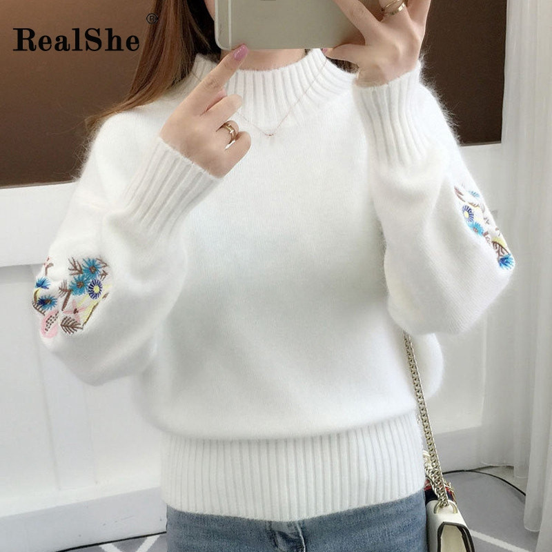 RealShe Autumn Sweater Women 2019 Turtleneck Full Sleeve Embroidery Thick Cashmere Sweater Women Elegant Fall Sweaters For Women