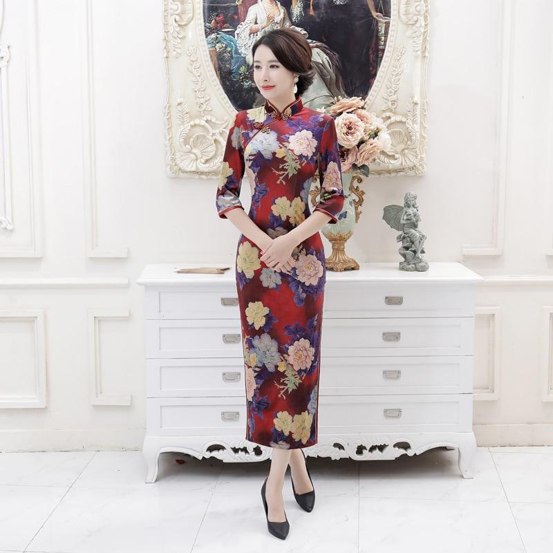 Autumn And Winter Improved Cheongsam Long Velvet Middle-aged Women Dress Large Size WOMEN'S Dress Banquet Costume Performance