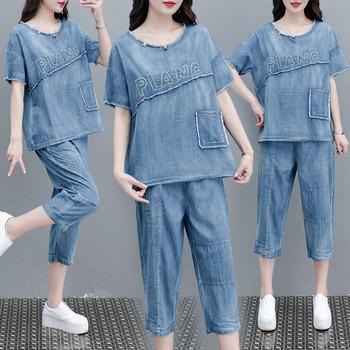 Summer Clothes For Women Denim suit Loose Large Size Slim Two-piece Suit Retro Jeans 2020 New Tracksuit