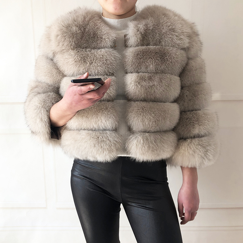 2019 new style real fur coat 100% natural fur jacket female winter warm leather fox fur coat high quality fur vest Free shipping 4