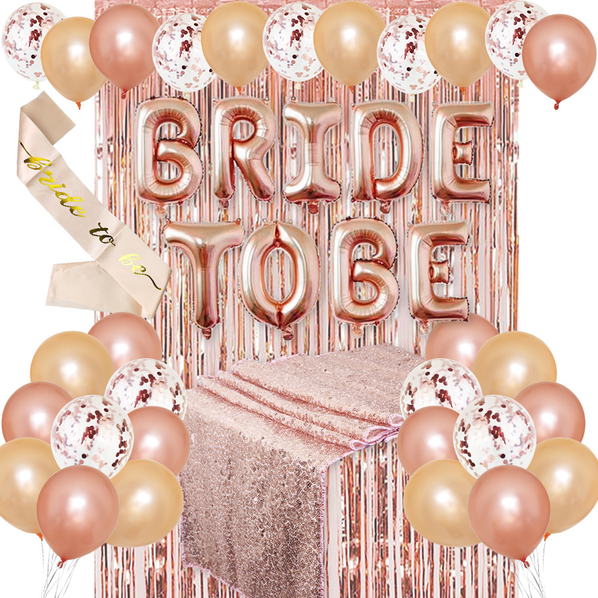 2019 Rose Gold Foil Balloons Kit Party Decoration Bride Shoulder Strap For Bachelorette Party Wedding Decor Bridal Shower Supply