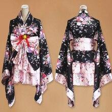 Womens Sexy Kimono Sakura Anime Costume Japanese Traditional Print Vintage Lolita Dress Cosplay