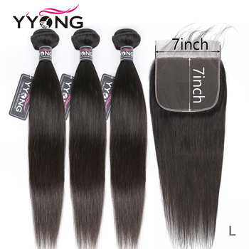 YYong Straight Hair Bundles With 7x7 Lace Closure Remy Brazilian Human Hair Weave Bundles With Closure Hair Extension yyong straight hair bundles with closure brazilian hair weave 3 bundles remy human hair bundles with closure hair extension