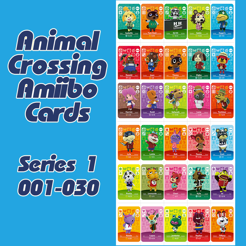 1PCS Animal Crossing New Horizons Amiibo Card For NS Switch 3DS Game Lobo Card Set Series 1 (001-030)