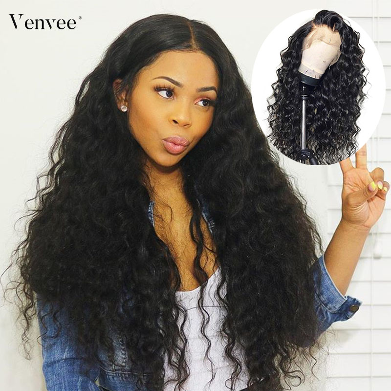 Transparent Full Lace Human Hair Wigs Pre Plucked With Baby Hair 150 180 250 Loose Wave Full Lace Wig For Women Venvee Remy Hair