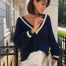 ALLNeon Casual Womens Sweaters V-neck Long Sleeve Knitted Pullovers Autumn Winter Ladies Jumpers Oversized Vintage
