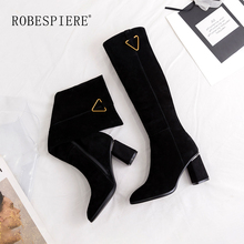 ROBESPIERE Hot Sale Zipper Knee High Boots Women Classics Black Square Heel Woman Leather Shoes Winter Large Size B33