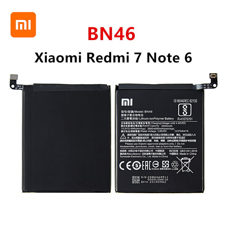Xiao Mi 100% Orginal BN46 4000mAh Battery For Xiaomi Redmi 7 Redmi7 Redmi Note 6 Redmi Note6 Note8 Note 8 BN46 Batteries