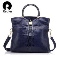 REALER Genuine Leather Bags for women Snake Pattern Tote Bag Top Quality Leather Handbags Evening Clutch Female Shoulder Bag