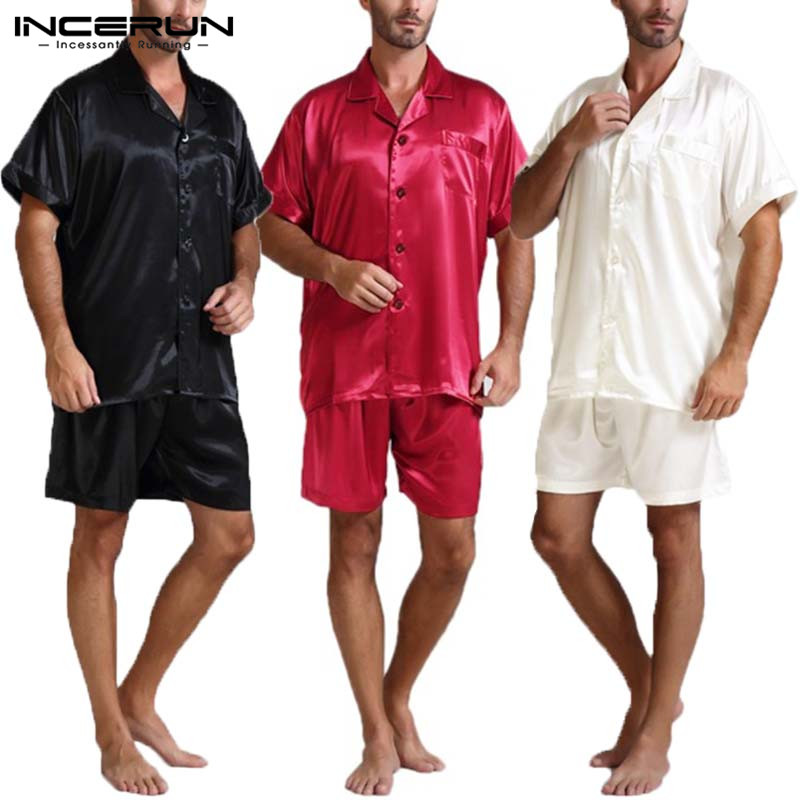 Silk Satin Men Pajamas Sets Fashion Sleepwear Suit Soft Short Sleeve Homewear Tops Shorts Two Piece Men Loungewear Pajama S-5XL