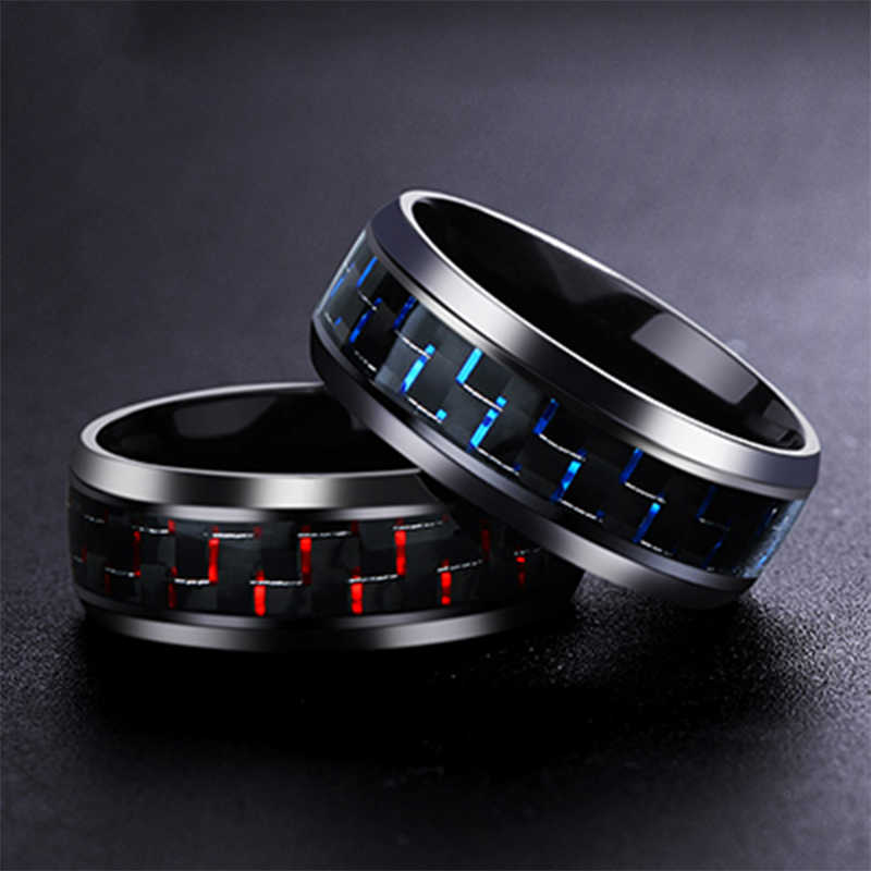 Dominante Man Ring Rood Groen Carbon Black Dragon Inlay Comfort Fit Rvs Ringen Voor Mannen Wedding Band Ring