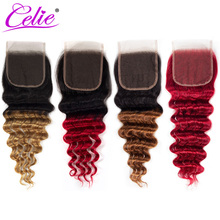 Celie uzupełnienie splotu włosów Lace Closure 1B 27 30 Red Remy włosy brazylijski luźne głęboka fala zamknięciem burgundii miód blond Ombre ludzkich uzupełnienie splotu włosów Lace Closure