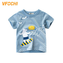 VFOCHI New Arrival Boys T Shirt Cartoon Polar Bear Print Tee Kids T Shirt 2-10Y Teenager Boy Tops Cute Boy Clothes Boy T Shirts цена и фото