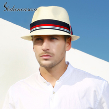 Sedancasesa Fashion Straw Sun Hats for Men Vintage Summer Fe