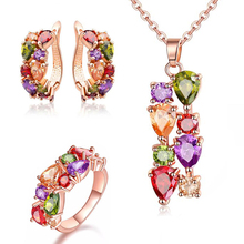 цены Charm Vintage Mona Lisa Style Multi Color Crystal Zircon Fashion Necklace Pendants Ring Earring Jewelry Set gift for Women girls