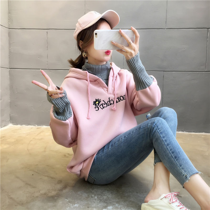 Autumn and Winter New Korean Version of Women's Hooded High Collar Fake Two Fashionable Tops with Plush Thickening for Students 11