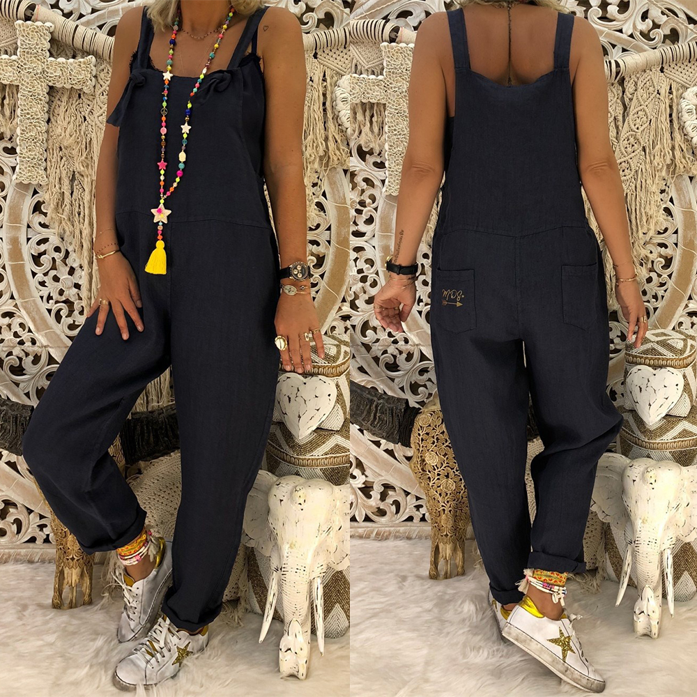 Women Sleeveless Jumpsuit Casual Backless Strappy Loose Womens Playsuit Vintage Plus Size Streetwear Feminino Overalls Rompers