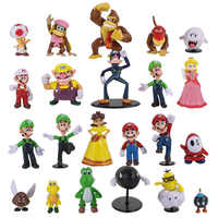 22 Uds Super Mario Bros juguetes, Figuras Luigi Yoshi sapo Donkey Kong Bowser Goomba bomba Wario Waluigi PVC colección de Figuras de acción