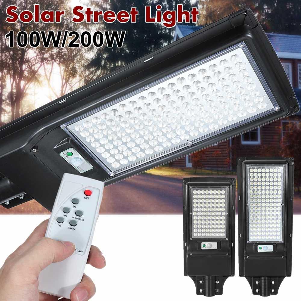AUGIENB 100W/200W Solar Street Light  80/136 LED Waterproof Outdoor Lighting Security Lamp Industrial Square Garden Highway Road