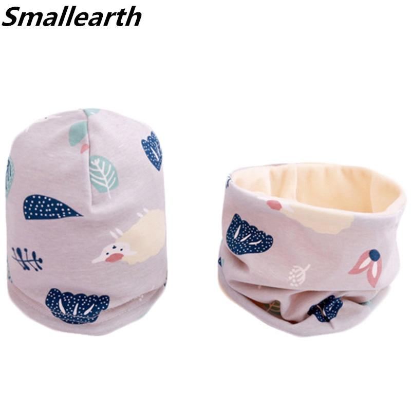 New Autumn Winter Cotton Baby Hat Sets Crochet Children Scarf Hat Set Cartoon Girls Hat Scarf Set Fashion Boys Child Cap Scarf