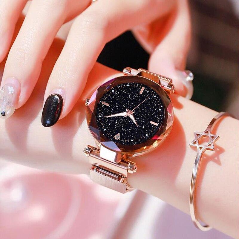 Luksusowe kobiety zegarki 2019 panie zegarek Starry Sky magnetyczny wodoodporny zegarek kobiet Luminous relogio feminino reloj mujer 1