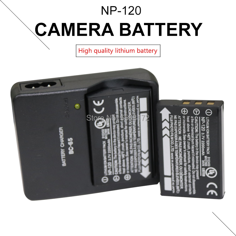 2PCS 2200mAh <font><b>NP</b></font>-<font><b>120</b></font> <font><b>NP</b></font> <font><b>120</b></font> Camera <font><b>Battery</b></font> for Fujifilm NP120 Pentax DL17 Kyocera-Contax BP1500 +1PCS BC-65 charger image