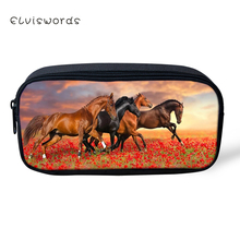 ELVISWORDS Kids Pencil Case Flower Horse Prints Pattern Students Stationery Box Kawaii Animal School Pen Bags Womens Beautician