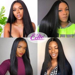 Image 5 - Celie düz saç demetleri brezilyalı saç örgü demeti fırsatlar 3/4 adet Remy saç ekleme insan saç demetleri
