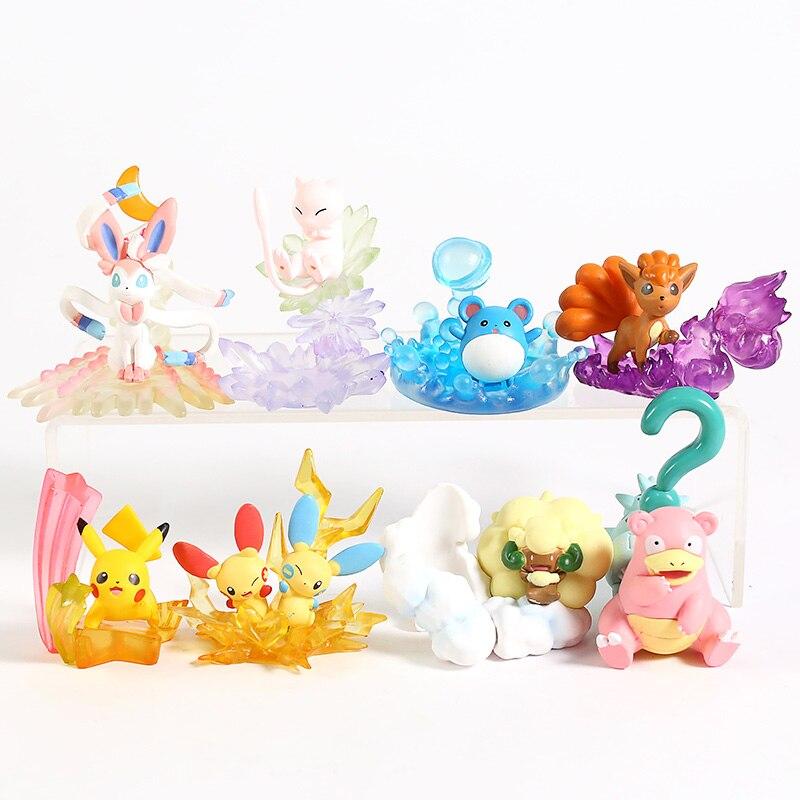 Anime Cartoon Monsters Desktop Figures Vol.3 Sylveon Mew Marill Vulpix Plusle Minun Slowbro Whimsicott Toys 8pcs/set