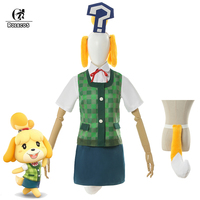 ROLECOS Anime Animal Crossing Cosplay Costumes Isabelle Cosplay Costume Women Shirt Vest Skirt Summer Suit With Headwear Tail