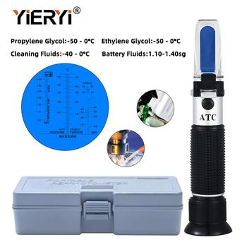 yieryi Hand Held Tester Tool 4 In 1 Engine Fluid Glycol Antifreeze Freezing Point Car Battery Refractometer W ATC With The box 4 in 1 hand held refractometer battery antifreeze concentration meter vehicle urea tester glass water adblue fluid glycol atc