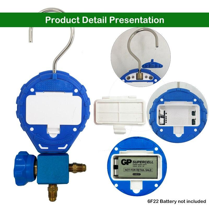Meter Tester Pressure Pressure Freon With Gauge Pressure Digital Vacuum  HVAC Tester Refrigeration Sight Manifold  Glass