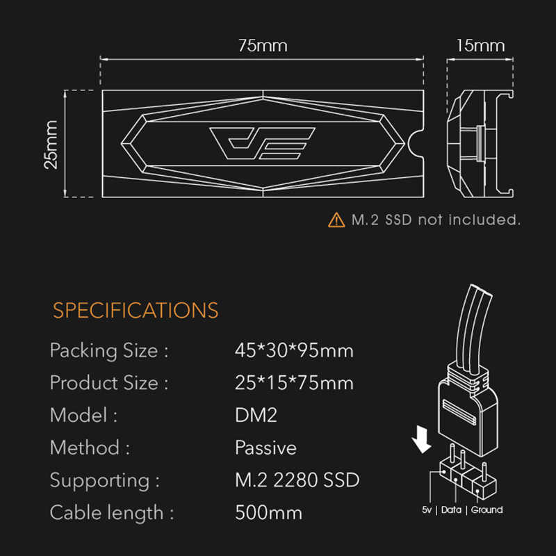 Darkflash M.2 Ssd Heatsink Cooler 2280 Argb 5V Solid State Harde Schijf Radiator M2 Ngff Pci-E Nvme Aluminium Koeling thermische Pad