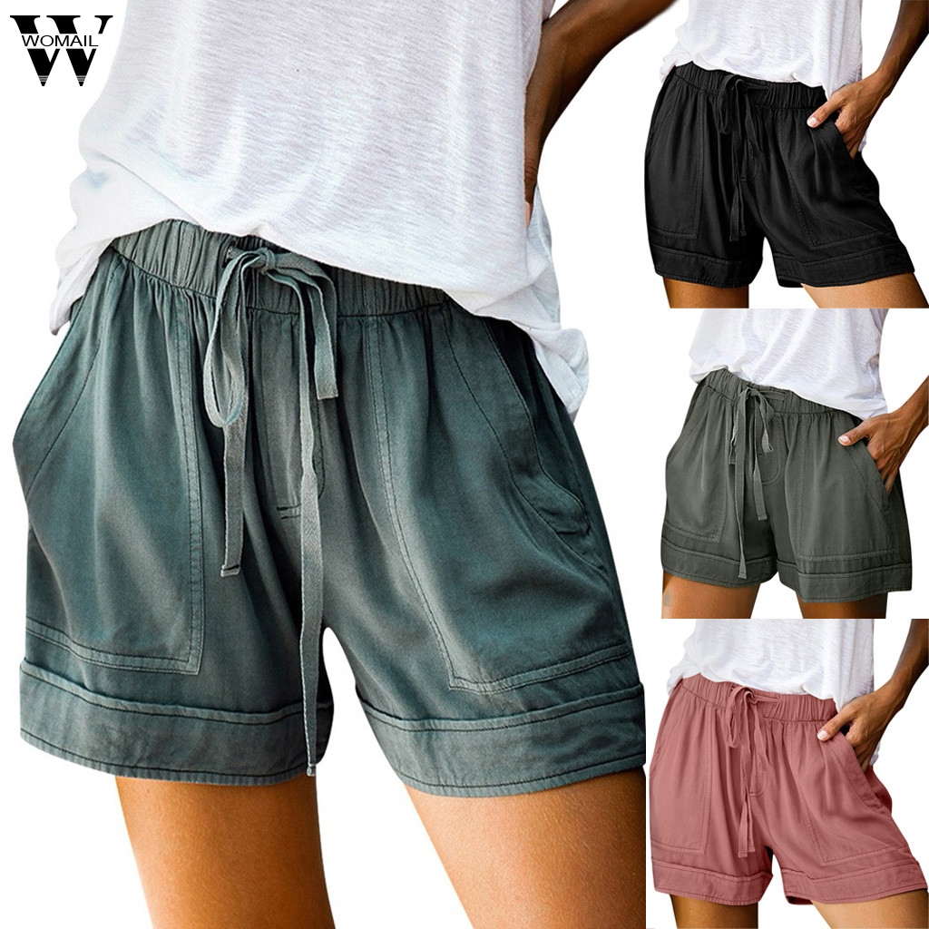 Womail Women's Short Summer Loose Rope Tie Short 2020 Sport Shorts Casual Elastic Waist Cotton Linen Shorts Pink Pocket Beach P0
