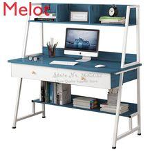 Simple Modern Woden Computer Desk Combination Steel Frame Tables Home Bedroom Desks with Bookshelf & Drawer Office Writing Desk