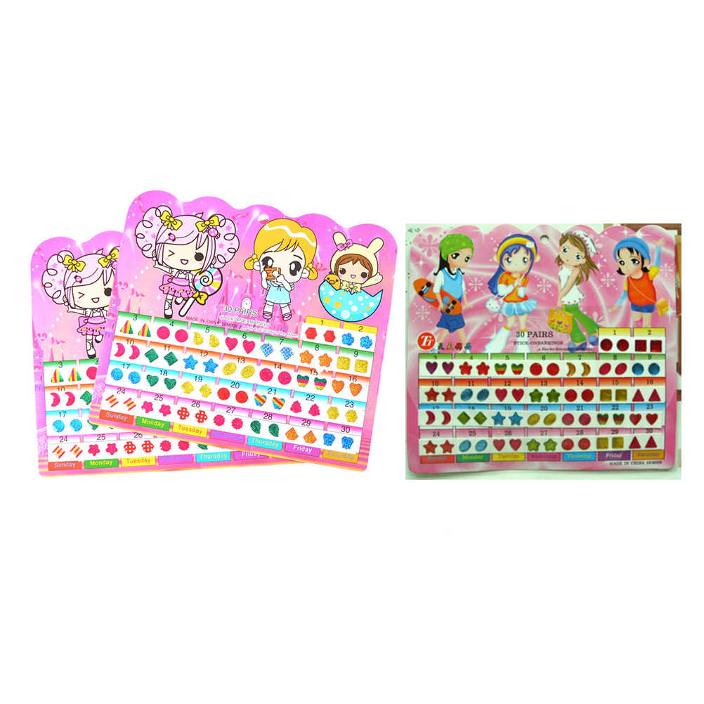 1 Sheet =60PCS Wonderful Cartoon Reward Crystal Stickers Diy Sticker Children Stickers Head Earrings