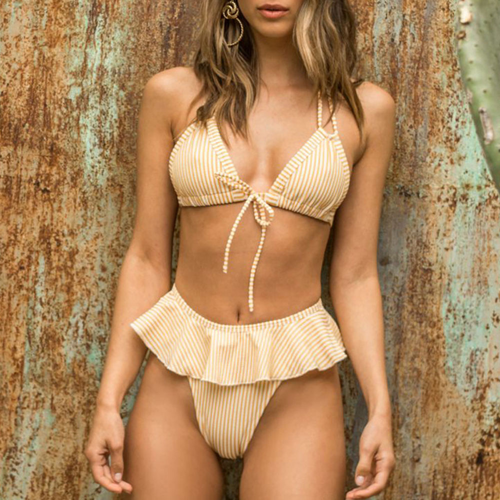 Sexy Yellow Separate Women's Two-Piece Swimsuit Striped Bikini Set Ruffled Summer Bathing Suit For Female Bikinis 2019 Mujer