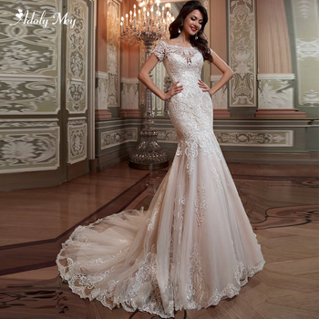 Adoly Mey Gorgeous Appliques Court Train Mermaid Wedding Dresses 2020 Sexy Boat Neck Short Sleeve Trumpet Bridal Gown Plus Size