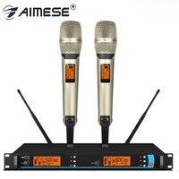 2019 Nova Cor Dourada Dupla Handheld SKM9000 Profissional UHF Microfone Sem Fio Sistema De Karaoke com 6500