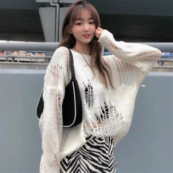Fashion Autumn Spring  Women Cute White Black Party Cool Chic New Korea Style Sexy Streetwear Tops Female Casual Sweaters 1