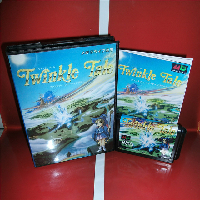 Twinkle Tale Japan 박스 및 설명서 커버 MD MegaDrive Genesis 비디오 게임 콘솔 16 비트 MD 카드