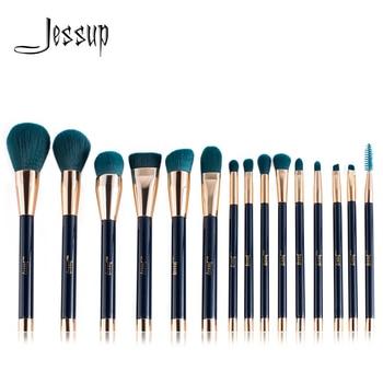 Jessup brushes 15pcs Makeup Brushes Set brush Powder Foundation Eyeshadow Eyeliner Lip Contour Concealer Smudge Blue/Darkgreen - discount item  20% OFF Makeup