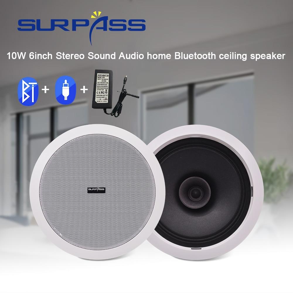 Waterproof Built In Digital Class D Amplifier Bluetooth Ceiling Speaker 10W 6inch  Active LoadSpeaker for Indoor Music Playback