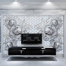 Dropship Custom 3D Wall Murals European Style Embossed Pearl Diamond Flower Luxury Jewelry Wall Paper For Walls 3 D Home Decor